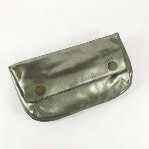 Lanvin Metallic Clutch w/Snap Flap Closure